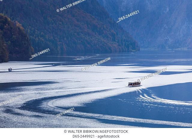 Germany, Bavaria, Konigsee, electrically powered lake tour boats, fall