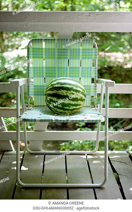 Watermelon on Lawn Chair on Porch