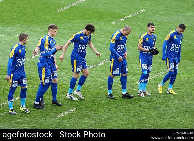 Waasland-Beveren's players pictured before a soccer match between Waasland Beveren and Sint-Truidense VV, Tuesday 06 April 2021 in Beveren-Waas