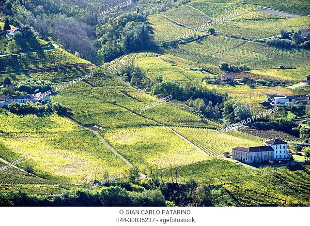 Italy, panorama of vineyards of Piedmont Langhe-Roero and Monferrato on the World Heritage List UNESCO. Landscape in autumn near Santo Stefano Belbo Italy