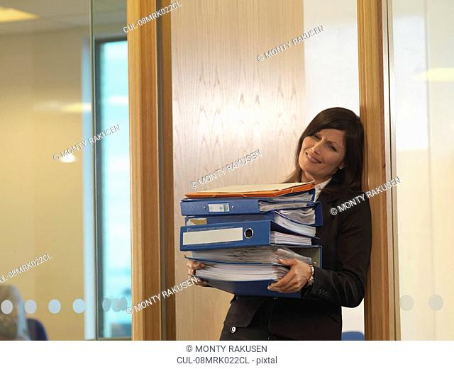 Woman with files
