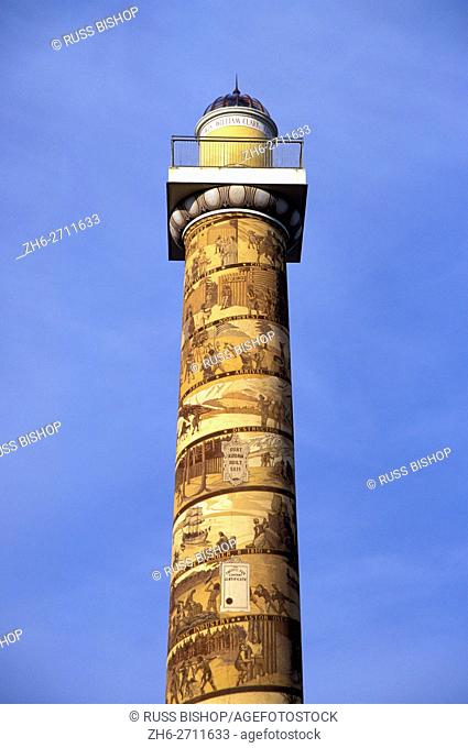 Murals depicting Lewis & Clark and early Oregon history on the Astoria Column, Astoria, Oregon USA