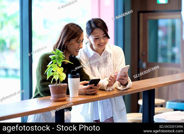 Two women having meeting in café