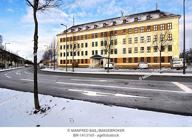 Former McGraw barracks in snow, Harlaching, Munich, Bavaria, Germany, Europe