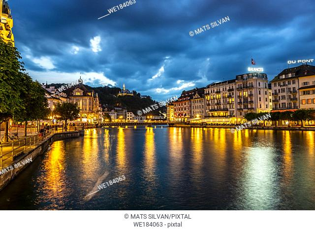 Reuss River and City of Lucerne at Night in Switzerland
