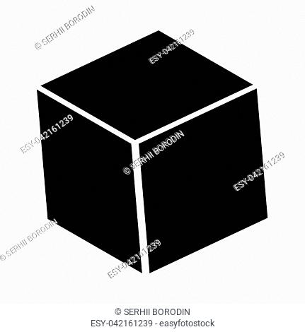 Cube it is black icon . Flat style