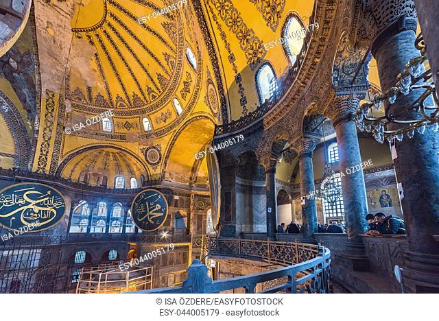 ISTANBUL, TURKEY- MARCH 11, 2017: Interior of Hagia Sophia,a Greek Orthodox Christian patriarchal basilica (church),built in 537 AD, later an imperial mosque