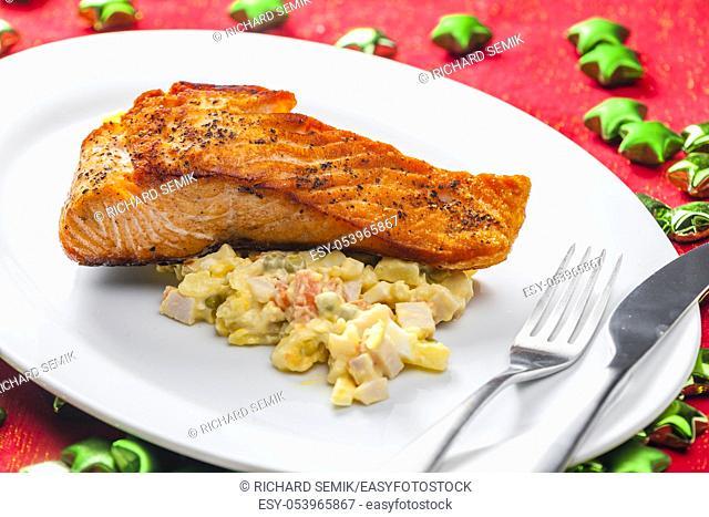 Traditional Czech Christmas potato salad with Salmon