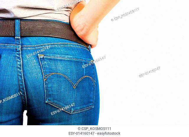 ass in jeans closeup on white background