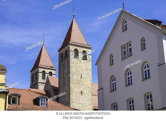 The steeples of Niedermünsterkirche Church in Regensburg, Bavaria, Germany