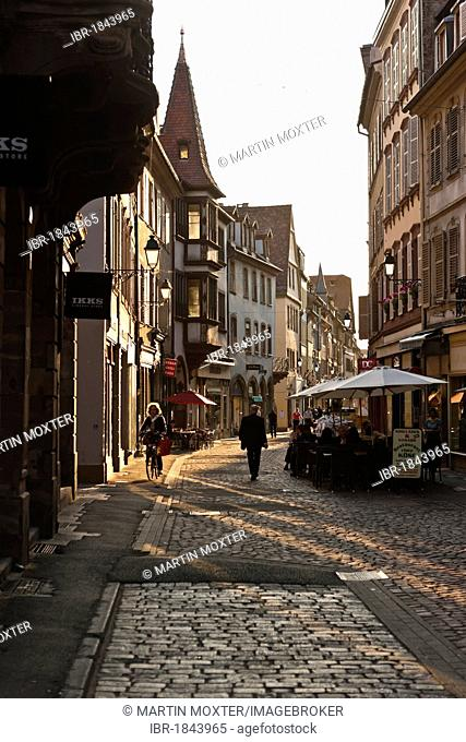 Street in the historic town centre of Strasbourg, Alsace, France, Europe