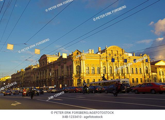 Anichkov most bridge along Nevsky Prospect street central St Petersburg Russia Europe