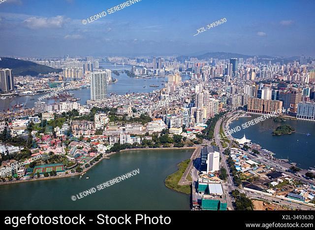 Aerial view of the Macau Peninsula. Macau, China