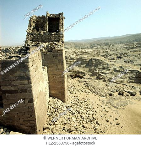 Ruins of the ancient dam at Ma'rib. The Sabaeans developed a complex system of irrigation around the dam, which had to be rebuilt after bursting on numerous...