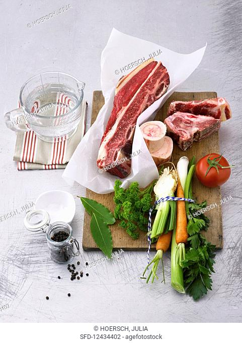 Ingredients for beef broth