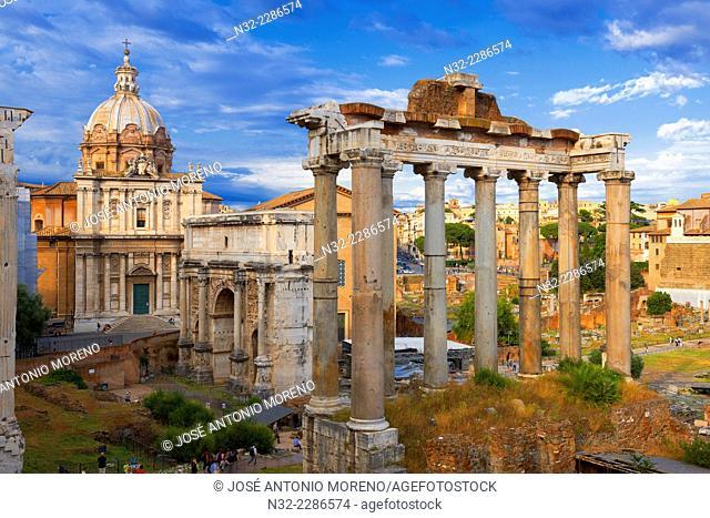 Temple of Saturn, Septimius Severus Arch, Santi Luca e MartinaChurch, Roman Forum, Rome, Lazio, Italy, Europe