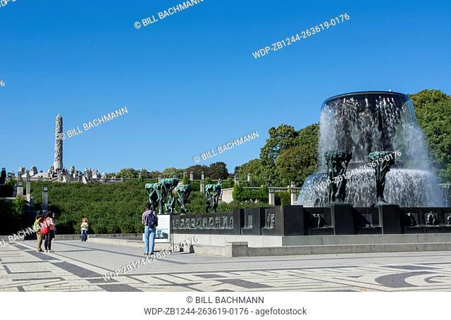 Oslo Norway Vigeland Installaation park sculpture fountain 1924-1943 Frogner Park Gustav Vigeland most famous artist in Norway granite