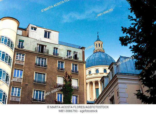 View of the Pantheon's dome from an appartment in the Latin Quarter. Paris, France