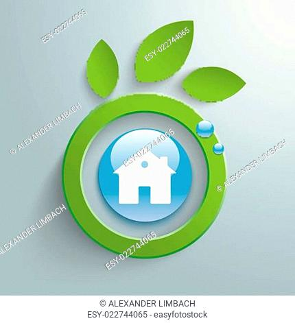 Eco Leaves Blue Button House PiAd