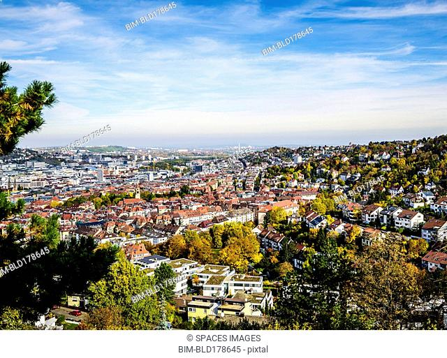 Aerial view of Stuttgart cityscape, Baden Wurttemberg, Germany
