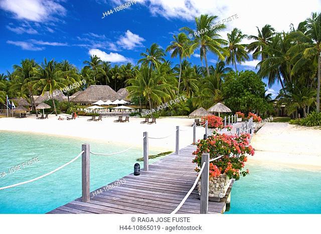 Tahiti, Society Islands, Bora Bora Island, Matira, Pier of the Intercontinental Resort