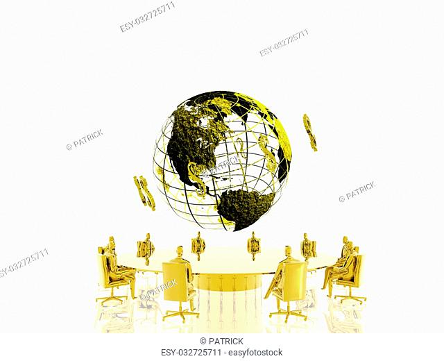 World with circulating dollars, businessmen in conference. Communication, currency concept, copy space