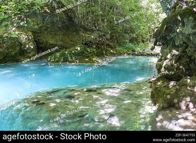 Source of the River Urederra in Urbasa mountain range, Navarra, Spain