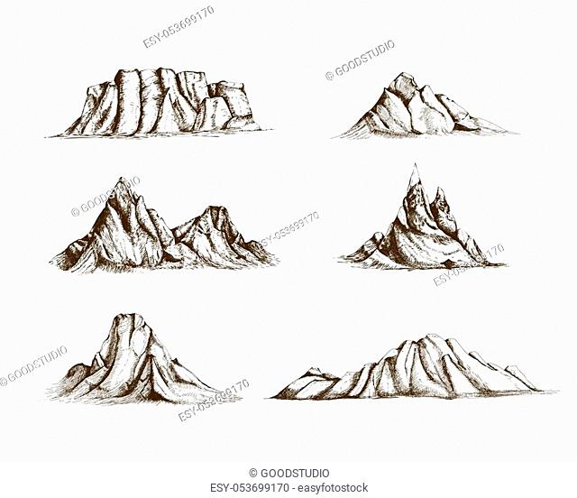 Collection of mountains hand drawn in vintage style. Set of beautiful retro drawings of different rock cliffs and peaks isolated on white background