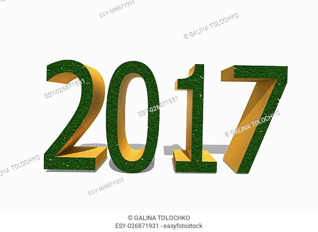On white background the numbers 2017 in a 3D format, signifying the coming New year