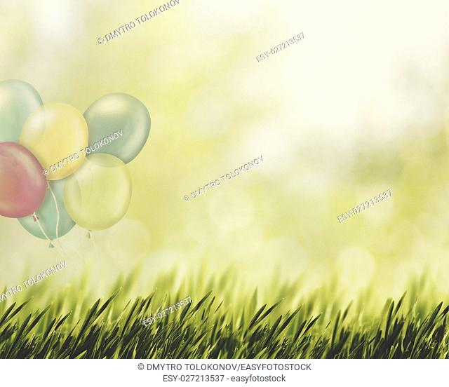 Happy Holidays, abstract natural backgrounds with air baloons