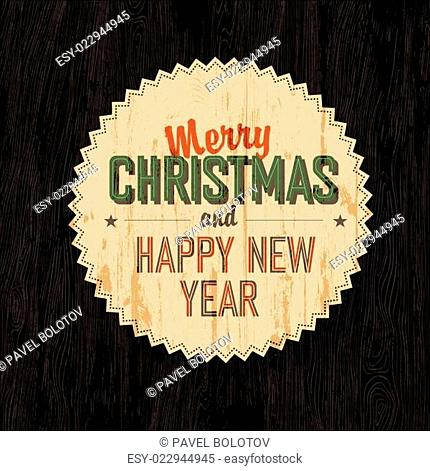 Merry Christmas Card With Dark Wooden Background, vector