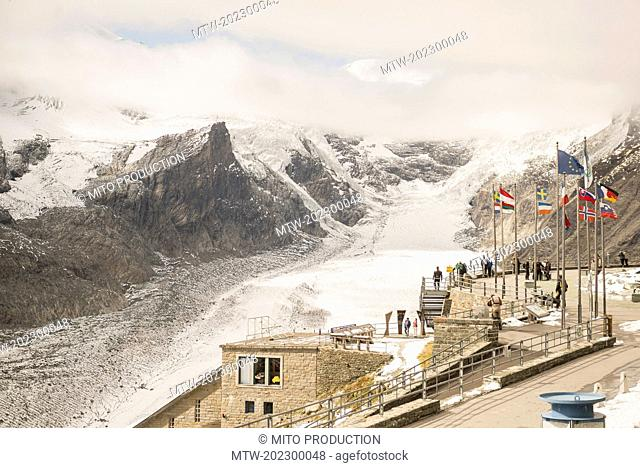 High angle view of tourists in observing point, Grossglockner mountain with Glacier Pasterze, Hohe Tauern National Park, Carinthia, Austria