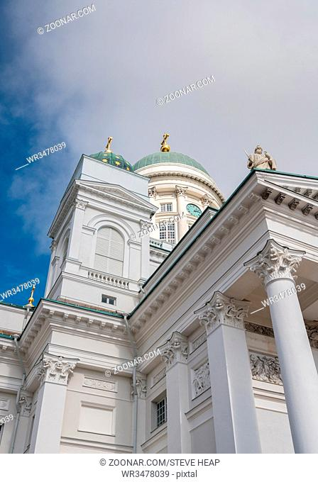 Detail of Evangelical Lutheran Cathedral in Senate square Helsinki, Finland