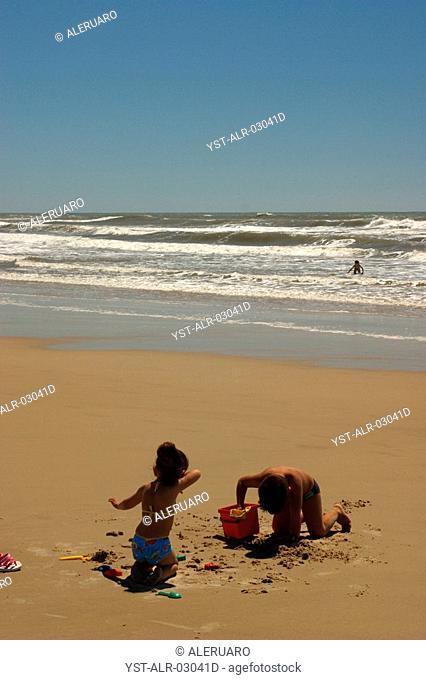 Children, Children Playing in the Sand, Xangri-la, Rio Grande do Sul, Brazil