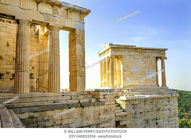 Temple of Athena Nike Propylaea Ancient Entrance Gateway Ruins Acropolis Athens Greece Temple built 420 BC