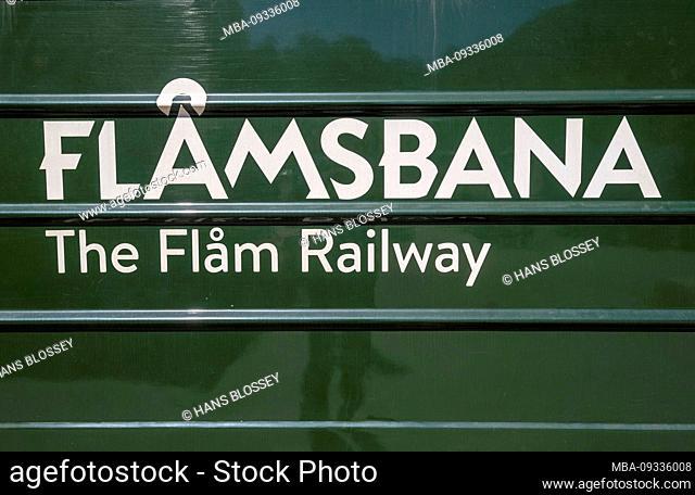Journey with the Flambahn, Eisenbahreise, green train with white lettering Flåmsbana, The Flam Railway, Sogn og Fjordane, Norway, Scandinavia, Europe