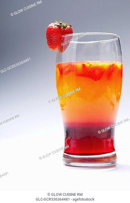 Close-up of a glass of strawberry cocktail