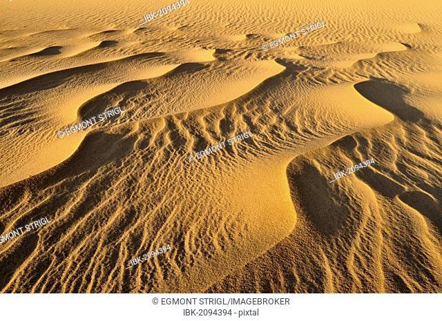 Sand structure, sand dune near Tehenadou, Adrar n'Ahnet, Adrar Ahnet, Algeria, Sahara, North Africa