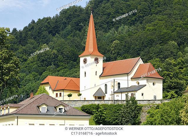 St. Nikola an der Donau, Austria, Upper Austria, District Perg, Saint Nikola an der Donau, Muehlviertel, Strudengau, city view, Saint Nikola parish church