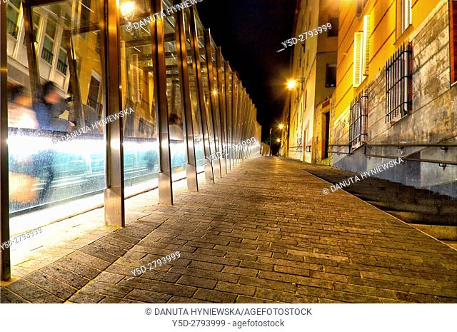 street scene at night, stairs and moving walkway connecting old town with the city, Vitoria-Gasteiz, Alava, Basque Country, Spain