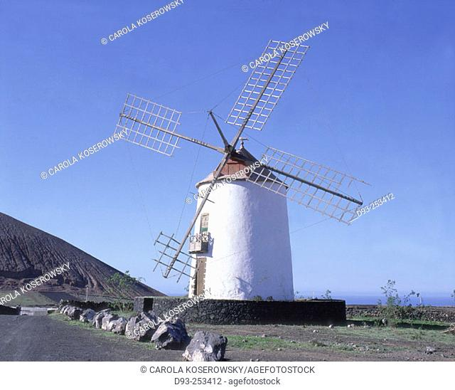 Windmill. Tiagua, Lanzarote. Canary Islands. Spain