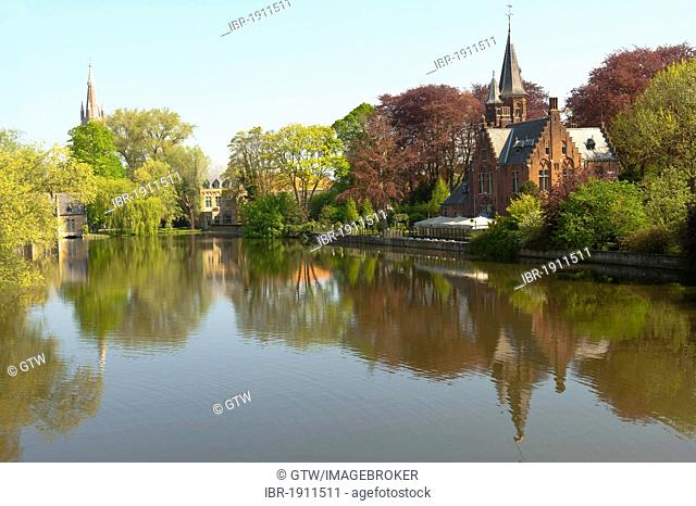 Love lake, Minnewaterpark, historic centre of Bruges, Unesco World Heritage Site, Belgium, Europe