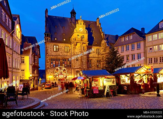 Christmas market with town hall in Marburg, Hesse, Germany