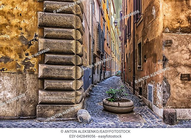 Narrow Italy street in the medieval center of Rome