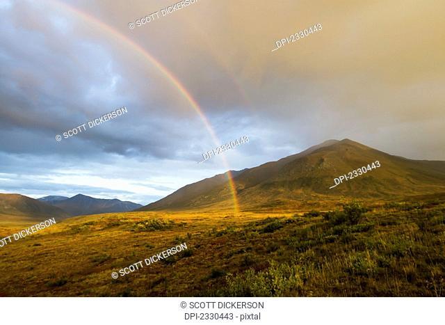Rainbow On Brooks Range, Gates Of The Arctic National Park, Northwestern Alaska Above The Arctic Circle; Alaska, United States Of America