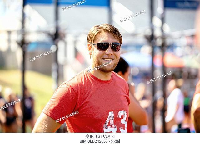 Portrait of smiling Caucasian man outdoors