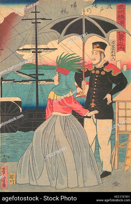 Returning Sails at the Wharves [American couple], 1st month, 1861. Creator: Utagawa Yoshitora