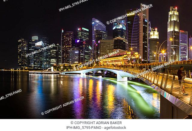 Asia Singapore Singapore skyline and Jubilee Bridge at night