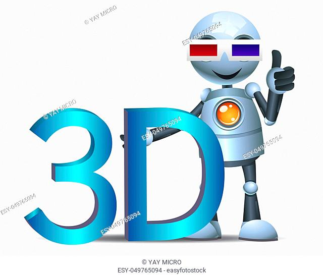 illustration of a happy droid little robot hold 3d movie symbol on isolated white background