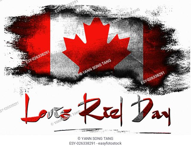 Flag of Canada for Louis Riel Day with white background